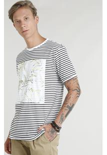 Camiseta Masculina Listrada Manga Curta Gola Careca Branca