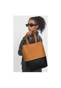 Bolsa Ellus Shopping Bag Dupla Face Bicolor Caramelo/Preto