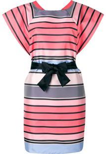 Emporio Armani Vestido Listado Com Cinto - Rosa