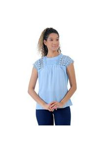 Blusa De Crepe E Renda Azul