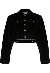 Mugler Velvet Cropped Denim Jacket - Preto