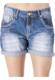Bermuda Jeans Alphorria - Feminino-Azul