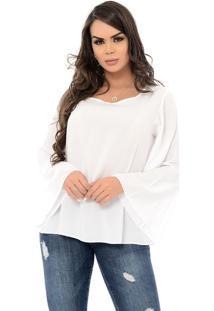Blusa B'Bonnie M/L Flare Betina Branco - Branco - Feminino - Viscose - Dafiti