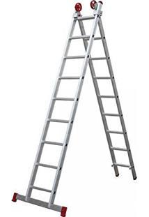 Escada Aluminio Botafogo 10 Degraus Extensiva 3 Em 1