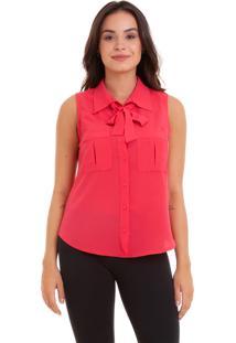 Blusa Kinara Camisa Regata Com Bolso Rosa