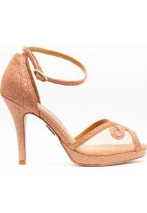 Sandália Salto Fino 10Cm Glitter Rosê Cbk - Kanui