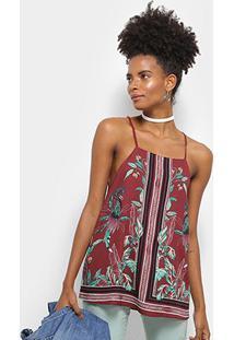 Blusa Colcci Estampa Floral Lenço Feminina - Feminino-Marrom+Verde