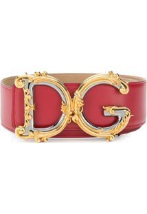 Dolce & Gabbana Cinto Dg Com Aplicações - Vermelho