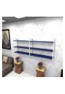 Estante Estilo Industrial Sala Aço Cor Branco 180X30X68Cm (C)X(L)X(A) Cor Mdf Azul Modelo Ind32Azsl