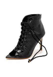 Bota Ankle Boot Bico Aberto Salto Fino Confortável Preto