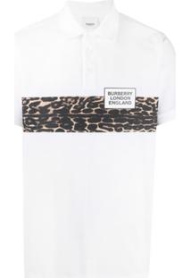 Burberry Leopard Panel Polo Shirt - Branco
