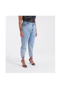 Calça Jeans Jogger Com Pérolas E Strass Curve & Plus Size | Ashua Curve E Plus Size | Azul | 46