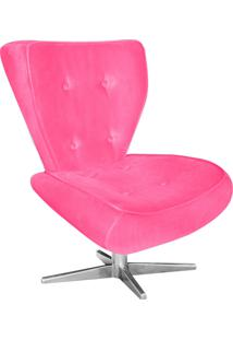 Poltrona Decorativa Tathy Suede Rosa Barbie Com Base Estrela Aço Cromado - D'Rossi