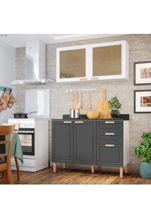 Cozinha Compacta Nevada V 4 Pt 3 Gv Branca E Grafite