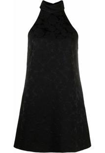 Saint Laurent Vestido Evasê Sem Mangas - Preto