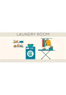 "Tapete Transfer ""Laundry Room""- Bege & Azul- 90X40Cmtapetes Junior"