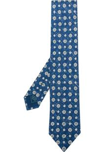 Brioni Gravata De Seda Floral - Azul