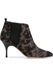 Manolo Blahnik Ankle Boot Com Contraste - Preto