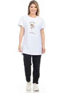 Camiseta Clara Arruda Flor Feminina - Feminino-Branco