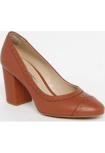 Sapato Tradicional Em Couro Com Microfuros - Coral- Capodarte