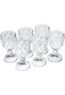 Conjunto 6 Taças Para Vinho De Vidro Diamond 245Ml Bon Gourmet