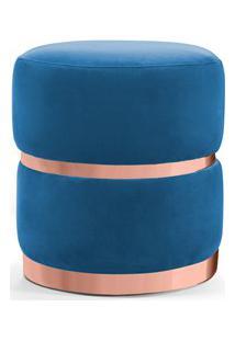 Puff Decorativo Com Cinto E Aro Rosê Round B-170 Veludo Azul - Domi
