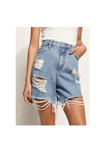 Bermuda Jeans Feminina Cintura Super Alta Destroyed Com Barra Desfiada Azul Claro