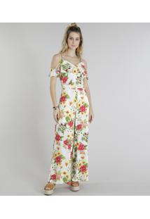 Macacão Decote Redondo Floral feminino   Gostei e agora  483c249685
