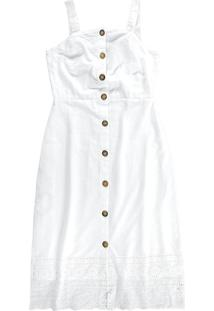 Vestido Branco Midi Com Bordado Laíse Mãe