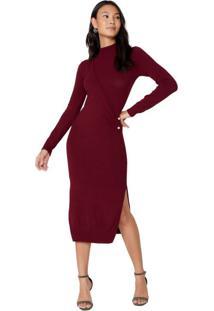 Vestido Trico Gola Alta Midi Fenda Com Fendas Amaro Marsala Vinho Tricot Detalhe Cintura