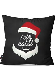 Capa De Almofada Pump Up Decorativa Avulsa Natalina Feliz Natal Barba E Gorro Do Papai Noel 45X45Cm