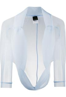 Pinko Jaqueta Cropped Translúcida - Azul
