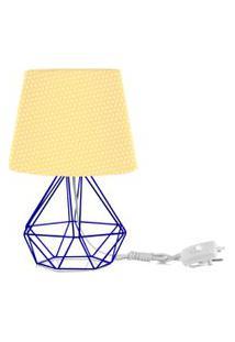 Abajur Diamante Dome Amarelo/Bolinha Com Aramado Azul