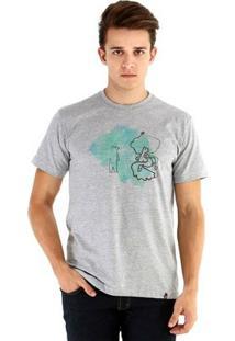 Camiseta Ouroboros Manga Curta Sopro Da Natureza - Masculino-Cinza