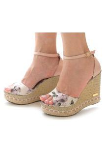 Sandália Anabela Sb Shoes Ref.3201 Nude/Floral