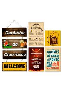 Kit 6 Placas Decorativas Cantinho Do Churrasco Cervejas Bar