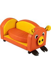 Puff Infantil Stay Puff Pig Nobre Amarelo E Laranja