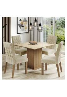 Conjunto Sala De Jantar Madesa Brenda Mesa Tampo De Vidro Com 4 Cadeiras Rustic/Crema/Imperial