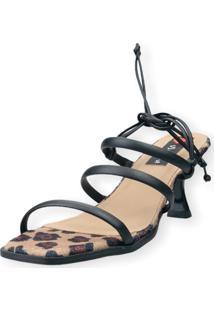 Sandalia Salto Taça Love Shoes 3 Tiras Amarração Onça Preto - Kanui