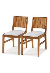 Kit 2 Cadeiras Salvador Verniz Jatoba Estofada 43Cm - 60332 Preto