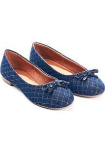 Sapatilha Rasteira Mizzi Shoes Matelassê Feminina - Feminino-Azul Claro