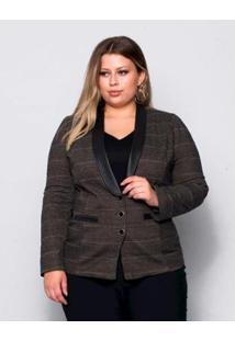 Blazer Plus Size Palank Feminino - Feminino-Preto