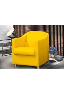 Kit 02 Poltronas Decorativa Para Sala E Escritório Tilla Corino Amarelo