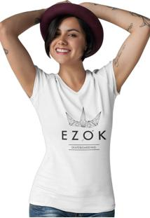 Camiseta Feminina Gola V Ezok Urban Branco - Kanui
