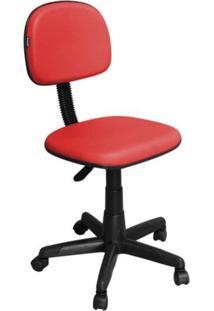 Cadeira De Escritório Pethiflex Cs-02 Secretária Giratória Vermelha
