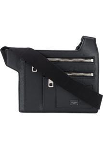 Dolce & Gabbana Angular Multi-Zip Leather Belt Bag - Preto