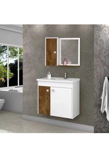 Conjunto Para Banheiro Munique - Bechara - Madeira Rústica / Branco