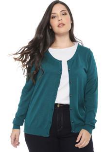 Cardigan Gris Plus Tricot Renda Verde