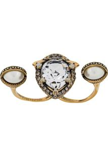 Alexander Mcqueen Crystal Embellished Double Ring - Dourado