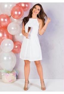 Vestido Branco Evasê Com Renda No Busto